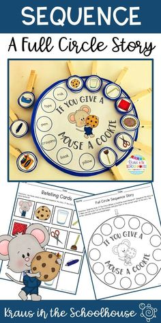 If You Give a Mouse a Cookie by Laura Numeroff is a great book to help students practice sequencing. This full circle story provides students with opportunities to retell a story in the correct order. Literacy Bags, Preschool Literacy, Preschool Books, Free Preschool, Early Literacy, In Kindergarten, Preschool Lessons, Retelling Activities, Pre K Activities