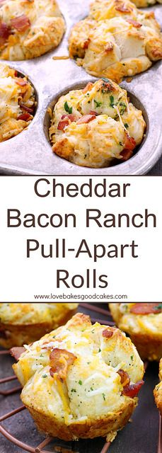 Make mealtime complete with these simple and delicious Cheddar Bacon Ranch Pull-Apart Rolls! Your family will LOVE them! Make mealtime complete with these simple and delicious Cheddar Bacon Ranch Pull-Apart Rolls! Your family will LOVE them! Bacon Recipes, Appetizer Recipes, Appetizers, Cooking Recipes, Hamburger Recipes, Copycat Recipes, Potato Recipes, Muffins, Good Food