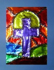 neat idea using tin foil, glue, markers, and yarn....I like the concept for any picture you would like to create.