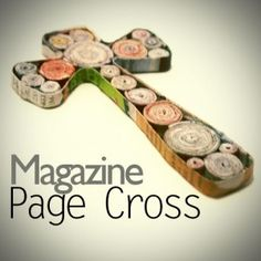 Here is the most recent addition to the coiled magazine page family here at SBLC.  This cross is about 5 inches tall, made from coiled magazine page circles, outlined with folded magazine page strips to for the cross shape.  I used a cross cookie cutter to create the outline, then filled it in