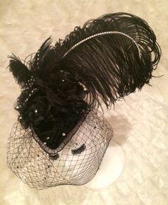 Black Velvet Fascinator Hat. Burlesque by EmpireCoutureCostume