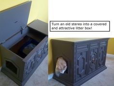 We didn't have a good place for a litter box.. so we came up with an idea that would help!