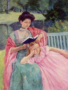 Woman & girl reading - Mary Cassatt. Pintora estadounidense. A pesar de no contar con la aprobación de sus padres, a la edad de quince años inició sus estudios de pintura en la Academia de Bellas Artes de Pennsylvania (1861-1865).