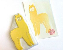 alpaca rubber stamp. hand carved rubber stamp. baby alpaca stamp. farm animal stamp. diy birthday. card making/craft projects. large