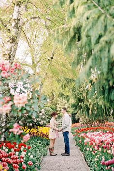 I would love this! An engagement session at a Washington park amidst tulip fields. Photo by Alexandra Knight Photography (via Style Me Pretty).