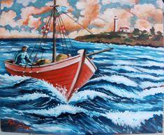 fisherman n boat acrylic on canvas