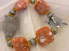 Vintage Owl Bracelet  Super Cute in Orange, Yellow and Gray, fits  7 inches wrist
