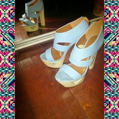 Edgy cut out platform heels Cutout wooden platform shoes with zipper back....trendy and fun for any outfit! Shoes Heels