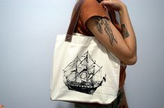 Canvas Tote Bag   Old Ship Screen Print by SamsaraPrints on Etsy, $15.00