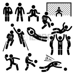 Goalkeeper Actions Football Soccer Stick Figure Pictogram Icons photo