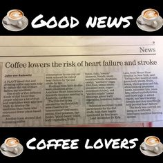 Good news for #coffee lovers from todays @independent.ie where a study showed coffeedrinkers who ate lots of dark green veg can lower risk of heart heart failure and stroke.