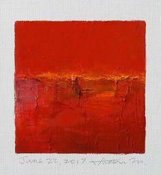"June 22, 2017 9 cm x 9 cm (app. 4"" x 4"") oil on canvas  © 2017 Hiroshi Matsumoto"