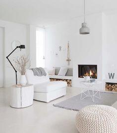 + Firepace, Concrete & White ...