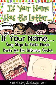 Easy steps to make music books for the listening center in your kindergarten classroom. Name Activities, Kids Learning Activities, Primary Teaching, Teaching Ideas, Kindergarten Classroom, Classroom Ideas, Readers Workshop, Dramatic Play, Reading Strategies