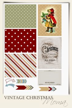 Free Vintage Christmas Printables for Pocket Scrapbooking from Moma {set 5}