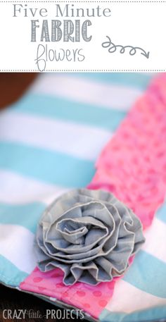 Quick and easy five minute fabric flowers tutorial. Make these quick and easy to embellish any project.