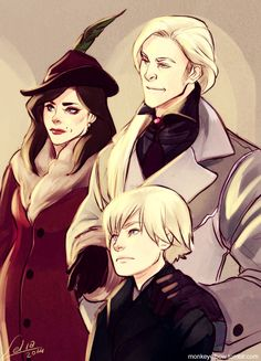 Scorpius Malfoy with his parents - Draco and Astoria by monkeyelbow