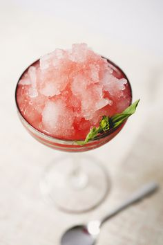 coconut water shaved ice with strawberry basil syrup.