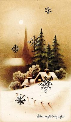 Beautiful sepia Christmas scene - Vintage Xmas card