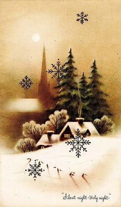Beautiful sepia Christmas scene - Vintage Xmas card