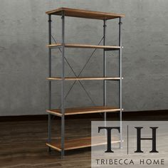 "TRIBECCA HOME Myra Vintage Industrial Modern Rustic Bookcase - overstock - $284.99 - 26""W x 15""D x 74.5""T x"