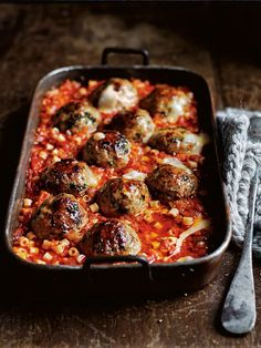 pork, oregano and stracchino baked meatballs from donna hay