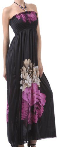 Sakkas Two Flowers on Solid Black Graphic Print Halter Smocked Bodice Long Dress - Listing price: $89.99 Now: $31.99