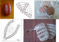 Felül zárható tojás Easter Egg Pattern, Easter Crochet Patterns, Crochet Borders, Crochet Motif, Crochet Home Decor, Holiday Crochet, Crochet Snowflakes, Button Crafts, Thread Crochet