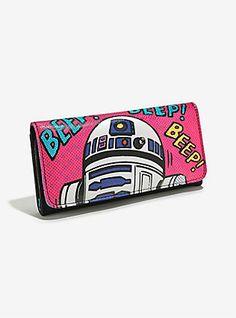 Loungefly x Star Wars comic print wallet at Box Lunch ⭐️ Star Wars fashion ⭐️ Geek Fashion ⭐️ Star Wars Style ⭐️ Geek Chic ⭐️ Geek Fashion, Star Fashion, Cartoon Bag, Snap Bag, Star Wars Merchandise, Star Wars Comics, R2 D2, Cute Bags, Box