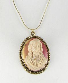 JESUS religious acrylic cameo pendant by vintagejewelrylane, $19.99