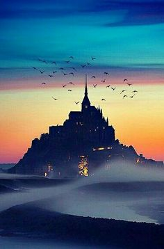 Beautiful scenery at Mont Saint-Michel, Normandy, France Mont Saint Michel France, Le Mont St Michel, Beautiful Castles, Beautiful Places, Beautiful Scenery, France Photography, Nature Photography, Places To Travel, Places To See