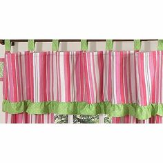 Fun Pink stripe with green and white polka dot tab top and ruffled trim, 84 in. x 15 in. Great paired with Olivia panels.