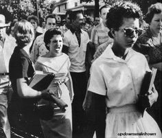 Elizabeth Eckford of the Little Rock 9 being followed by an angry white mob of students as she is one of the first black students at the school.  Hazel Massery (born Bryan,) the one with her mouth open, was never able to escape her participation in this photo, even after many apologies.