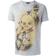 Alexander McQueen skull and bird print T-shirt (1.345 BRL) ❤ liked on Polyvore featuring men's fashion, men's clothing, men's shirts, men's t-shirts, grey, men's bird print shirt, mens short sleeve shirts, mens short sleeve t shirts, alexander mcqueen men's t shirt and men's round neck t shirts