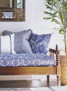 The Pink Pagoda: Blue and White Monday -- Blue and White Fabric raoul textil, bench, blue, monday, living room chairs, mixed prints, white textil, textile design, linen