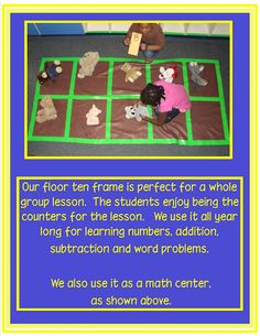 I made a 5-frame like this on our classroom rug this year, but I like the idea of making it on felt so it can be stored or rolled away!