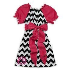 Black Chevron Hot Pink Corduroy Sash Dress