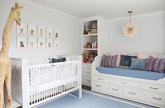 Molly Sims' nursery. Love the baby animal pics above the crib. The Animal Print Shop