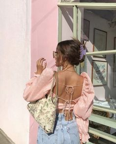 Pink puffy long sleeve two tie in backs summer fashion and summer clothes Aesthetic Fashion, Look Fashion, Aesthetic Clothes, Film Fashion, Feminine Fashion, Winter Fashion, Mode Outfits, Fashion Outfits, Womens Fashion
