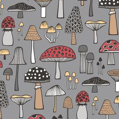 Mushrooms Fall Woodland Forest Doodle Red on Dark Grey fabric by caja_design on…