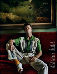 of the Gods: Mario Testino Shoots Vogue Hommes Paris Cover Shoot Kit Butler relaxes in a shirt and trousers by Fendi with Salvatore Ferragamo oxford shoes.Kit Butler relaxes in a shirt and trousers by Fendi with Salvatore Ferragamo oxford shoes. Mario Testino, Fotografia Retro, Cover Shoot, 1950s Fashion Menswear, 1950s Mens Fashion Casual, Men Casual, Kit Butler, Look Retro, Boho Summer Outfits