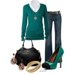 """""""Casual Teal"""" by christa72 on Polyvore  The shoes are too cute :)"""