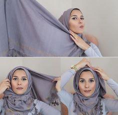 Tutorial Hijab Pashmina Rumbai untuk ke Kampus ala Dina Tokio 1