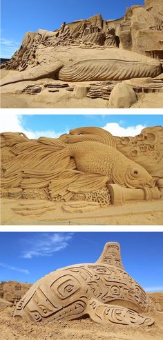 "In collaboration with the World Wildlife Fund, the 2017 Søndervig Sand Sculpture Festival presents a collection of large-scale sand sculptures inspired by ""life under the sea."""