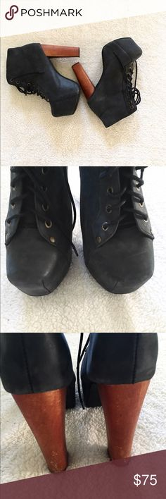 Jeffrey Campbell Distressed Lita Well-loved Lita. Wooden heels have some nicks and marks, distressed black leather naturally distressed with a few minor scuffs, mark on bottom of one of them. Lots of life left! Offers encouraged! Jeffrey Campbell Shoes Ankle Boots & Booties