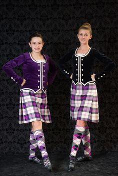 Kilts with purple and black jackets #ross #purple #tartan