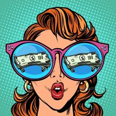 Dettagli immagine - Woman with sunglasses. money dollars in reflection. Woman with sunglasses. money dollars in reflection. Woman with sunglasses. money dollars in reflection Cartoon Drawings, Cartoon Art, Art Drawings, Pop Art Wallpaper, Cartoon Wallpaper, Desenho Pop Art, Pop Art Drawing, Pop Art Women, Pop Art Girl