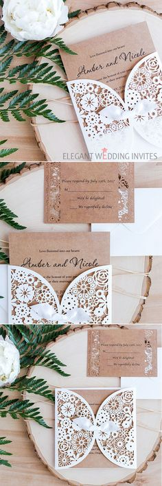 Vintage laser cut wedding invite suite with matching enclosure cards