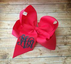 Glitter Monogram Hair Bow, Monogrammed gifts, Big Cheer Bows, Hair Bows for Girls, Boutique Hair Bows, Hair Accessory