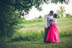 Kaitlyn and Paul's traditional Korean wedding attire stands out against the late summer lawn in September 2015